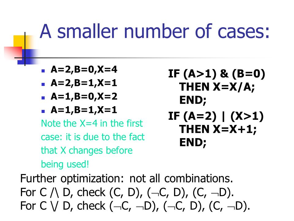 A smaller number of cases: A=2,B=0,X=4 A=2,B=1,X=1 A=1,B=0,X=2 A=1,B=1,X=1 Note the X=4 in the first case: it is due to the fact that X changes before