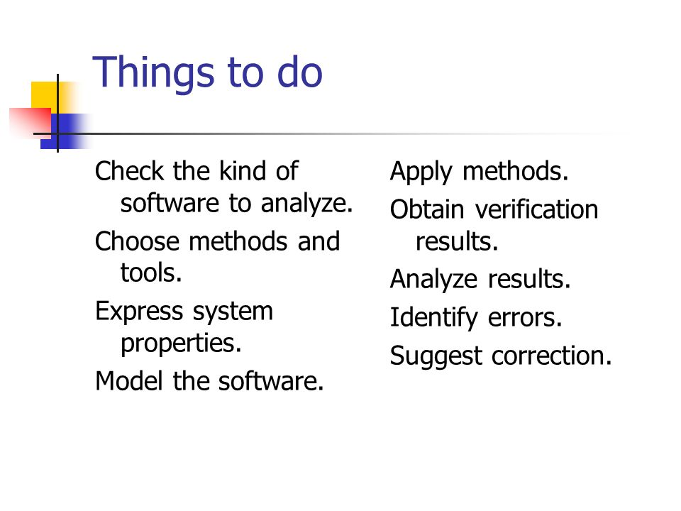 Things to do Check the kind of software to analyze. Choose methods and tools. Express system properties. Model the software. Apply methods. Obtain ver