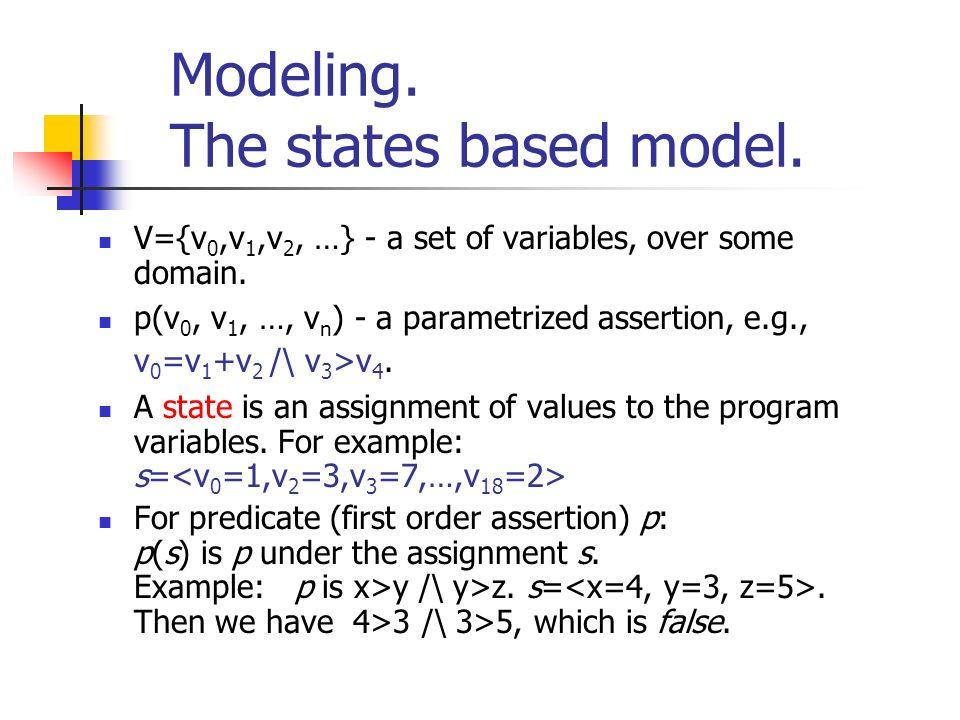 Modeling. The states based model. V={v 0,v 1,v 2, …} - a set of variables, over some domain. p(v 0, v 1, …, v n ) - a parametrized assertion, e.g., v