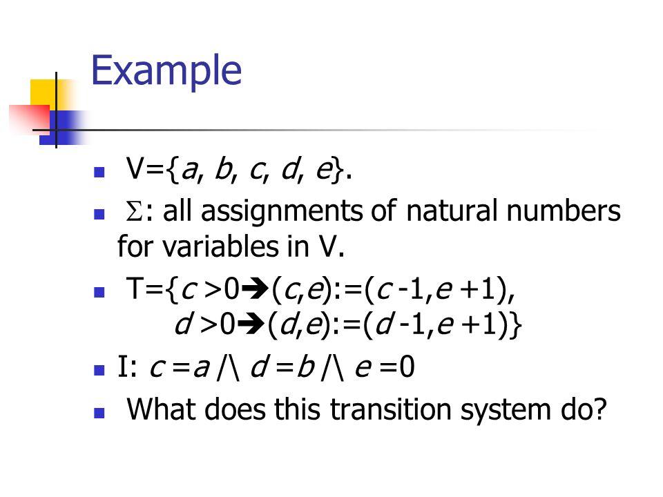 Example V={a, b, c, d, e}. : all assignments of natural numbers for variables in V. T={c >0 (c,e):=(c -1,e +1), d >0 (d,e):=(d -1,e +1)} I: c =a /\ d