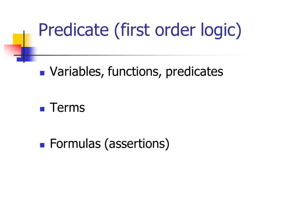 Predicate (first order logic) Variables, functions, predicates Terms Formulas (assertions)
