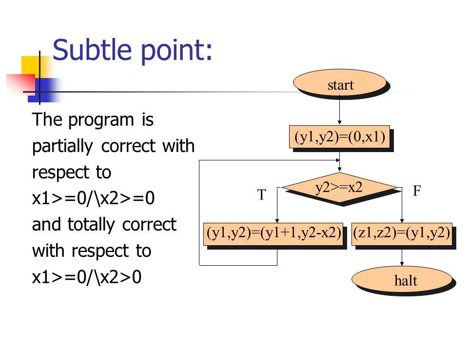 Subtle point: The program is partially correct with respect to x1>=0/\x2>=0 and totally correct with respect to x1>=0/\x2>0 start halt (y1,y2)=(0,x1)