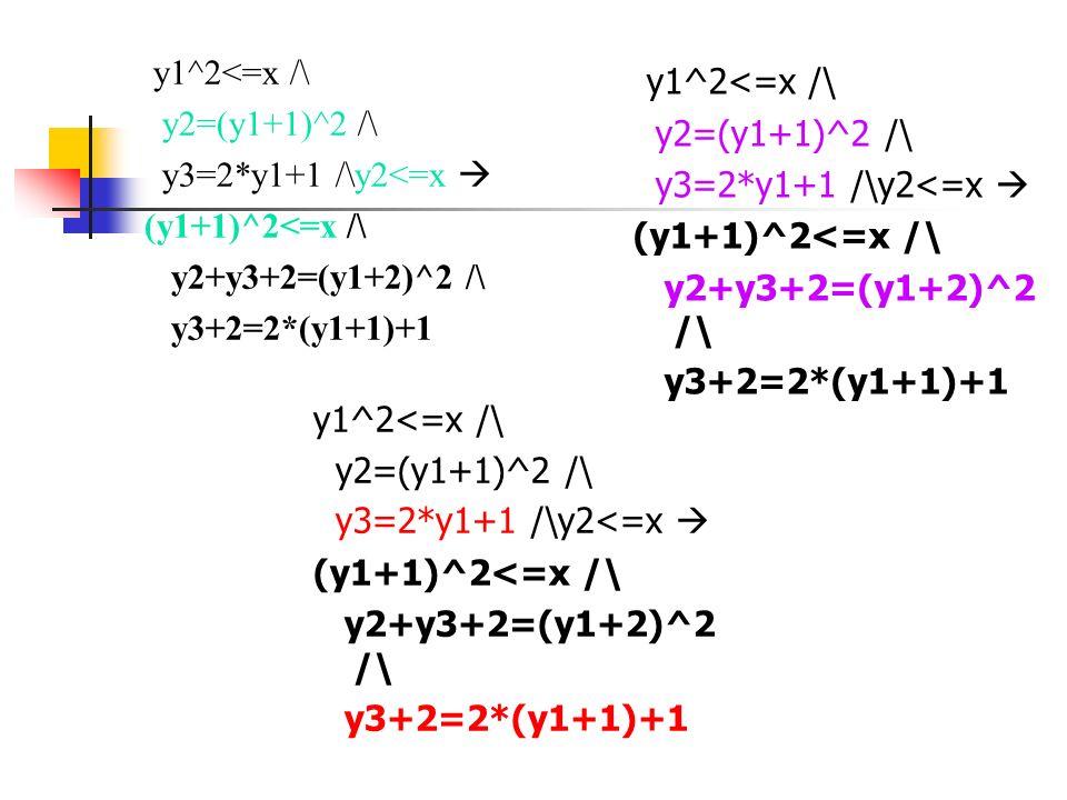 y1^2<=x /\ y2=(y1+1)^2 /\ y3=2*y1+1 /\y2<=x (y1+1)^2<=x /\ y2+y3+2=(y1+2)^2 /\ y3+2=2*(y1+1)+1 y1^2<=x /\ y2=(y1+1)^2 /\ y3=2*y1+1 /\y2<=x (y1+1)^2<=x
