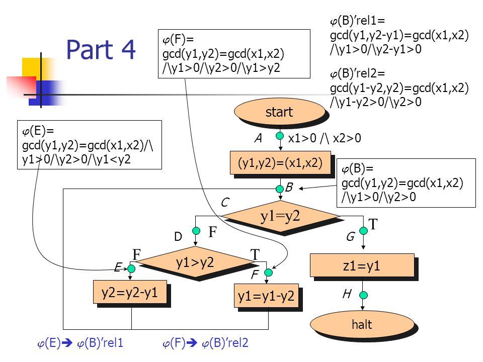 Part 4 halt start (y1,y2)=(x1,x2) z1=y1 y1=y2 F T y1>y2 y2=y2-y1 y1=y1-y2 TF x1>0 /\ x2>0 (B)= gcd(y1,y2)=gcd(x1,x2) /\y1>0/\y2>0 (E)= gcd(y1,y2)=gcd(