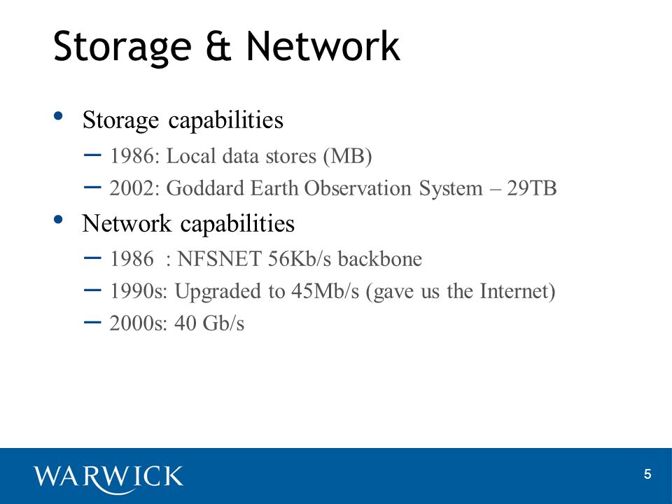 5 Storage capabilities – 1986: Local data stores (MB) – 2002: Goddard Earth Observation System – 29TB Network capabilities – 1986 : NFSNET 56Kb/s backbone – 1990s: Upgraded to 45Mb/s (gave us the Internet) – 2000s: 40 Gb/s Storage & Network