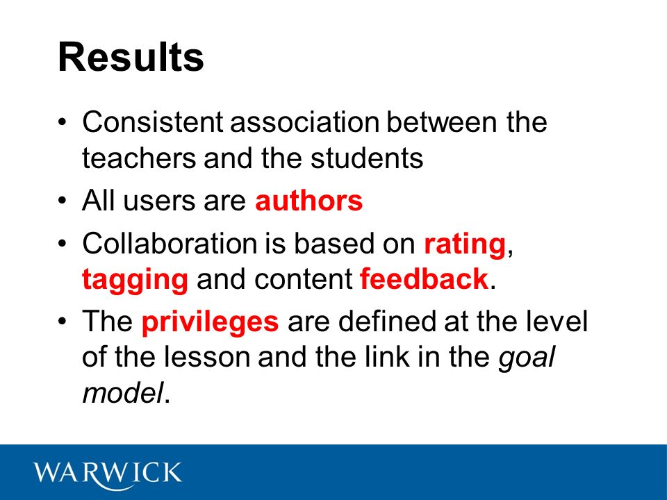 Results Consistent association between the teachers and the students All users are authors Collaboration is based on rating, tagging and content feedback.