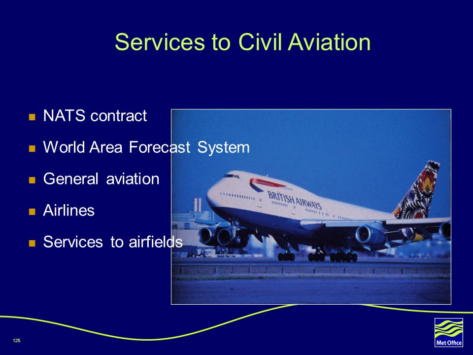 125 Services to Civil Aviation NATS contract World Area Forecast System General aviation Airlines Services to airfields