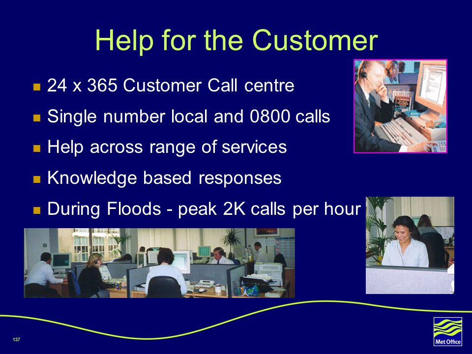 137 Help for the Customer 24 x 365 Customer Call centre Single number local and 0800 calls Help across range of services Knowledge based responses Dur