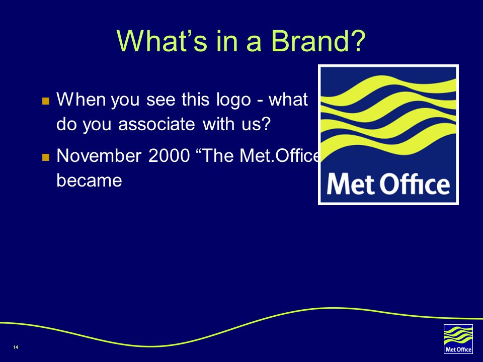 14 Whats in a Brand? When you see this logo - what do you associate with us? November 2000 The Met.Office became