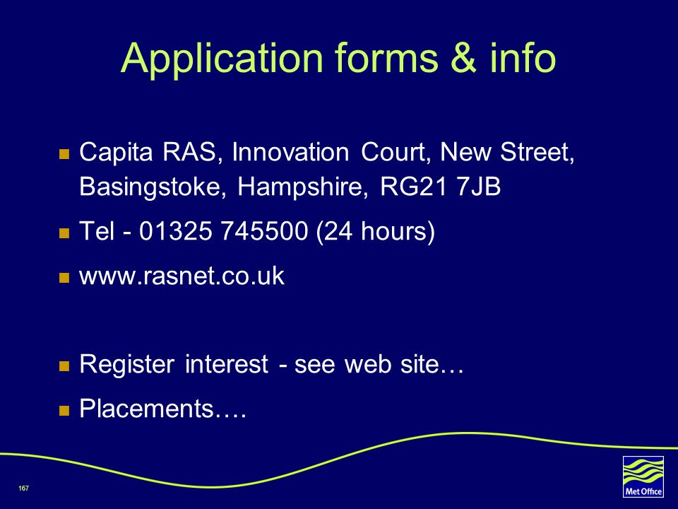 167 Application forms & info Capita RAS, Innovation Court, New Street, Basingstoke, Hampshire, RG21 7JB Tel - 01325 745500 (24 hours) www.rasnet.co.uk