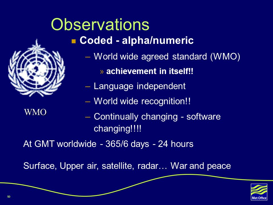 50 Observations Coded - alpha/numeric –World wide agreed standard (WMO) »achievement in itself!! –Language independent –World wide recognition!! –Cont