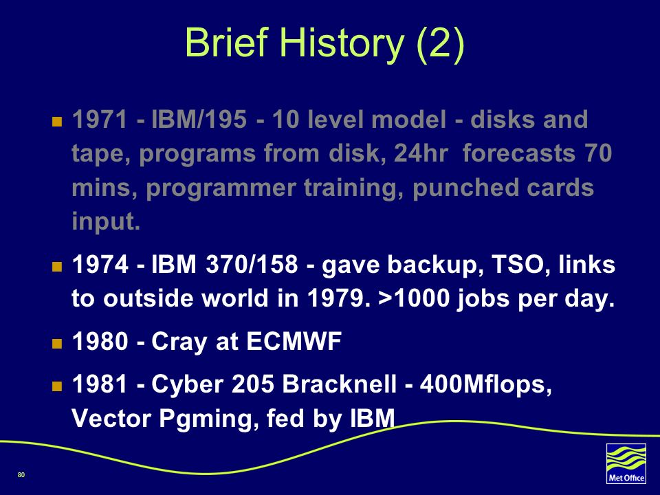 80 Brief History (2) 1971 - IBM/195 - 10 level model - disks and tape, programs from disk, 24hr forecasts 70 mins, programmer training, punched cards
