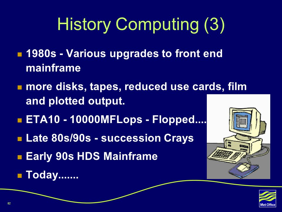 82 History Computing (3) 1980s - Various upgrades to front end mainframe more disks, tapes, reduced use cards, film and plotted output. ETA10 - 10000M