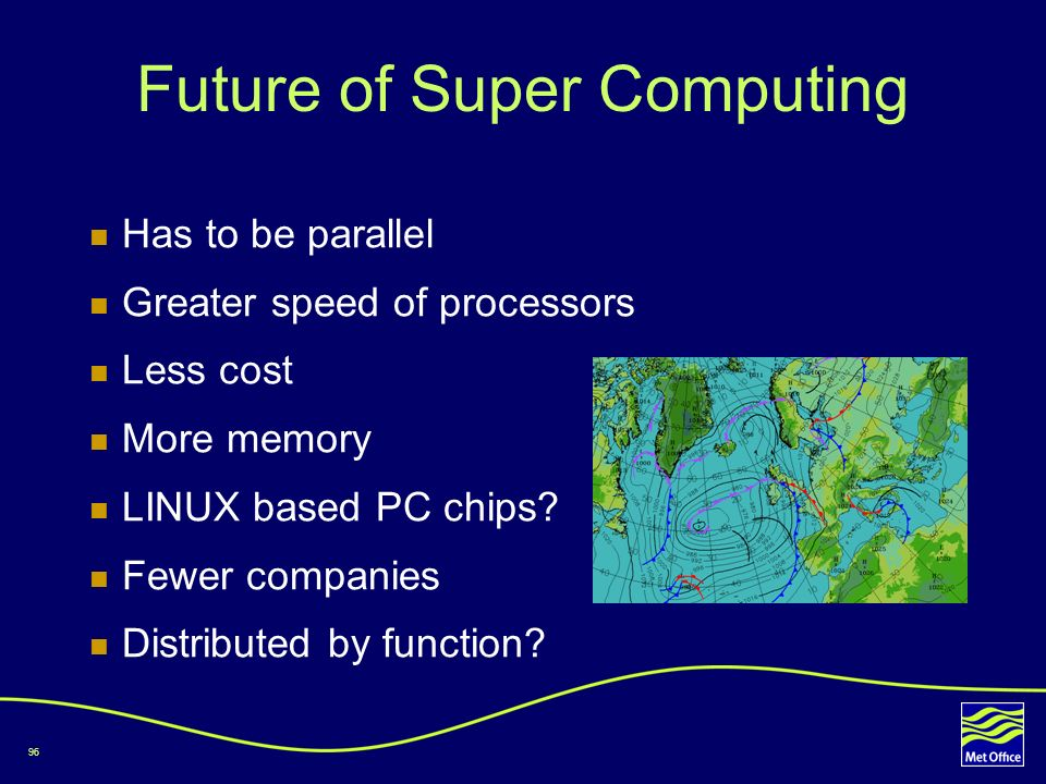 96 Future of Super Computing Has to be parallel Greater speed of processors Less cost More memory LINUX based PC chips? Fewer companies Distributed by