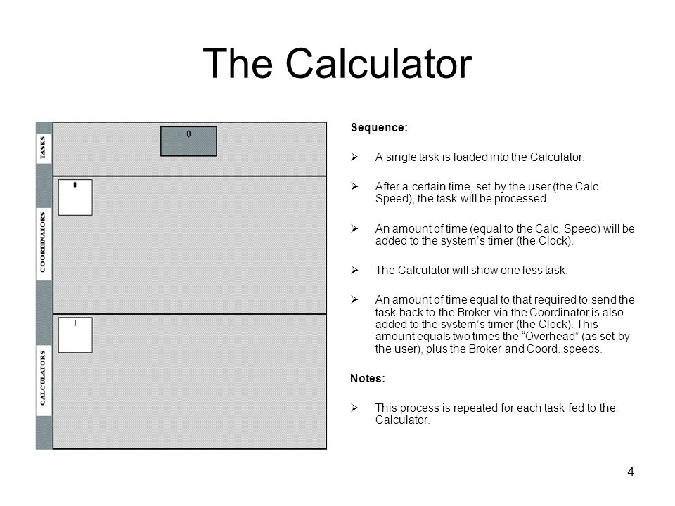4 The Calculator Sequence: A single task is loaded into the Calculator. After a certain time, set by the user (the Calc. Speed), the task will be proc