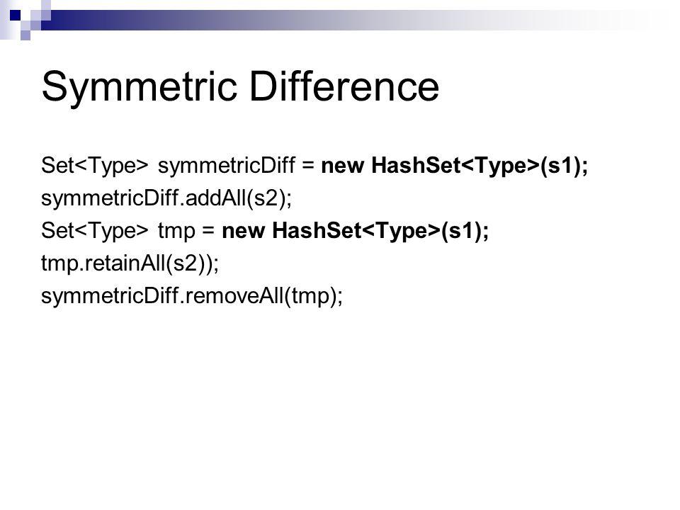 Symmetric Difference Set symmetricDiff = new HashSet (s1); symmetricDiff.addAll(s2); Set tmp = new HashSet (s1); tmp.retainAll(s2)); symmetricDiff.rem