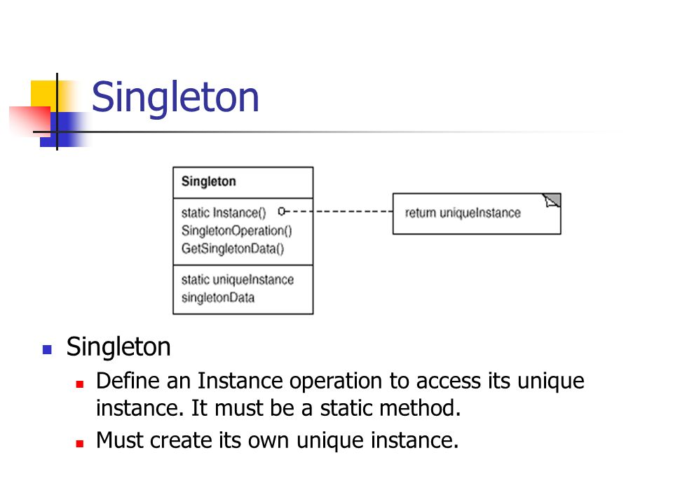 Singleton Define an Instance operation to access its unique instance.