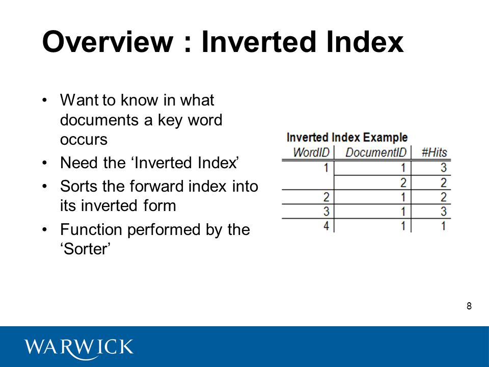 8 Overview : Inverted Index Want to know in what documents a key word occurs Need the Inverted Index Sorts the forward index into its inverted form Fu