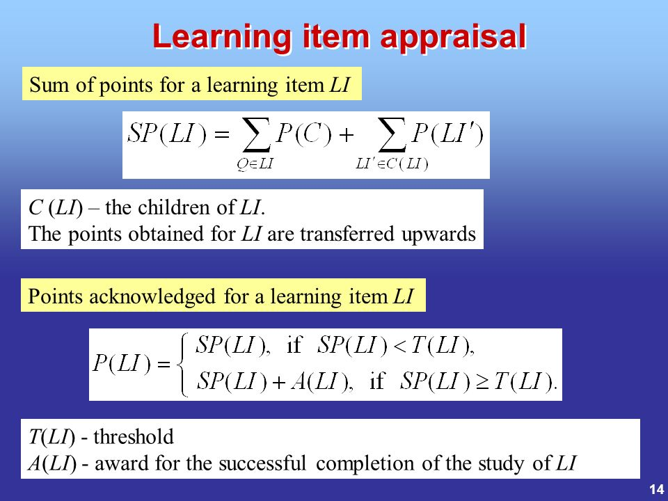 14 Sum of points for a learning item LI C (LI) – the children of LI.
