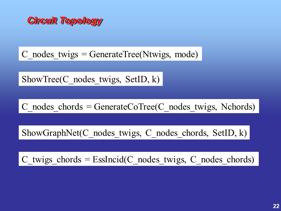 22 Circuit Topology C_nodes_twigs = GenerateTree(Ntwigs, mode) ShowTree(C_nodes_twigs, SetID, k) ShowGraphNet(C_nodes_twigs, C_nodes_chords, SetID, k) C_nodes_chords = GenerateCoTree(C_nodes_twigs, Nchords) C_twigs_chords = EssIncid(C_nodes_twigs, C_nodes_chords)