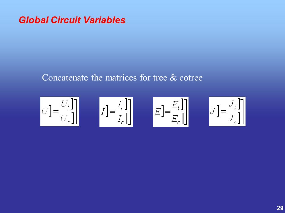 29 Global Circuit Variables Global Circuit Variables Concatenate the matrices for tree & cotree