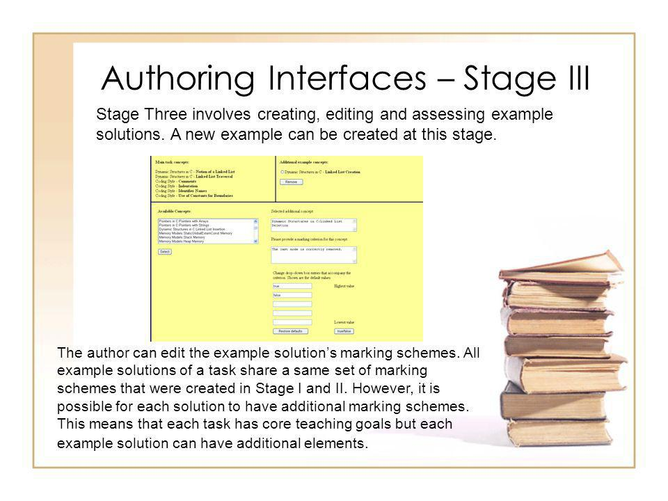 Authoring Interfaces – Stage III The author can edit the example solutions marking schemes.