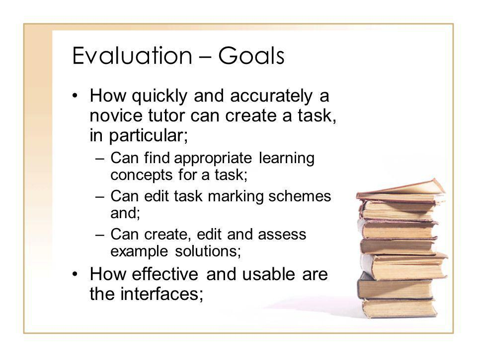 Evaluation – Goals How quickly and accurately a novice tutor can create a task, in particular; –Can find appropriate learning concepts for a task; –Can edit task marking schemes and; –Can create, edit and assess example solutions; How effective and usable are the interfaces;