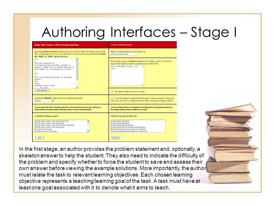 Authoring Interfaces – Stage II The second stage in task authoring is the editing of marking schemes.