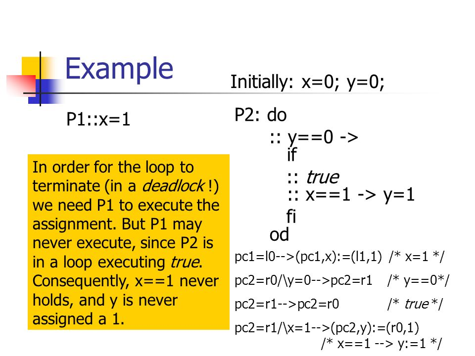 Example P1::x=1 P2: do :: y==0 -> if :: true :: x==1 -> y=1 fi od Initially: x=0; y=0; In order for the loop to terminate (in a deadlock !) we need P1 to execute the assignment.