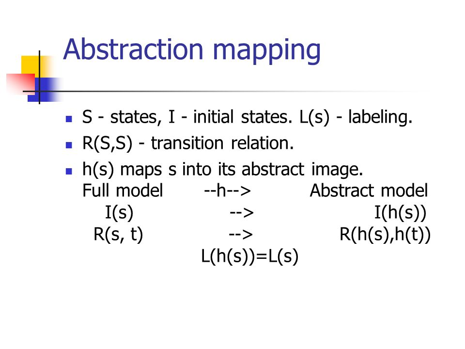 Abstraction mapping S - states, I - initial states.