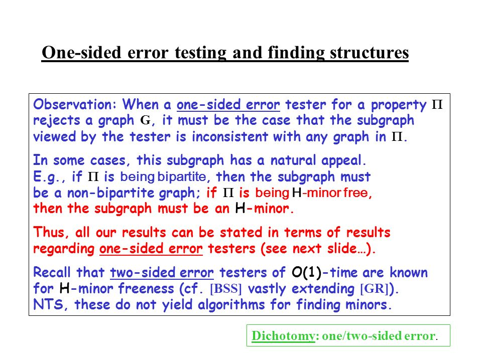 One-sided error testing and finding structures Observation: When a one-sided error tester for a property rejects a graph G, it must be the case that t