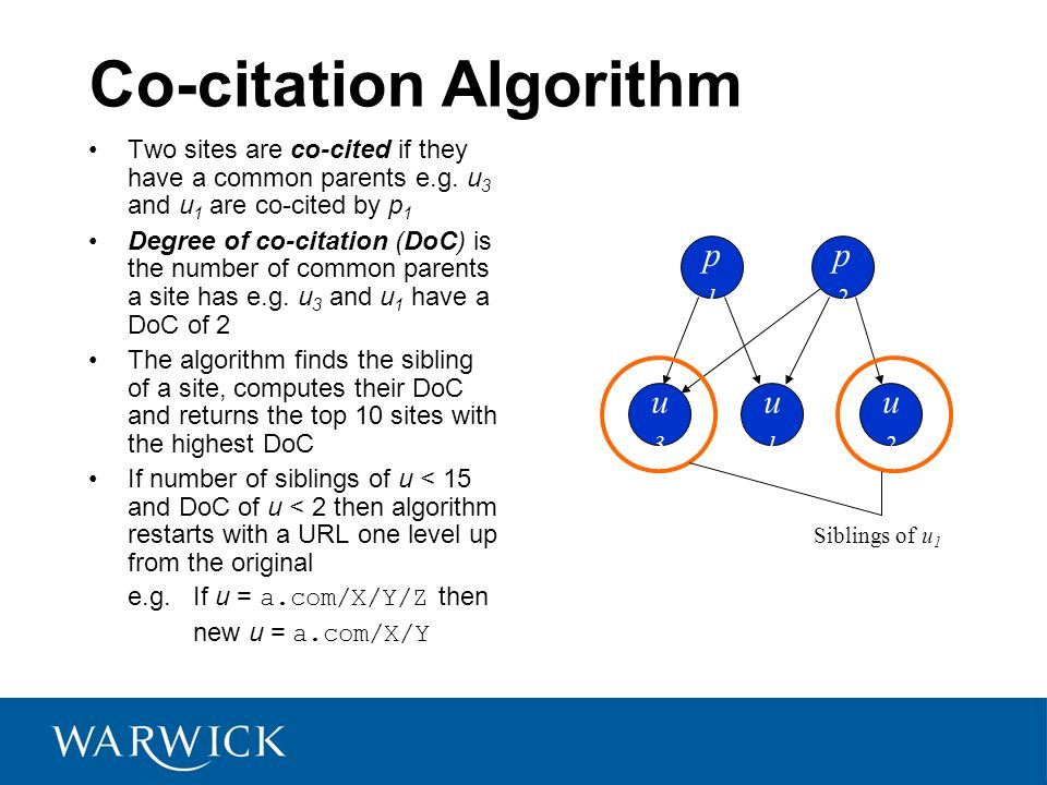 Co-citation Algorithm Two sites are co-cited if they have a common parents e.g.