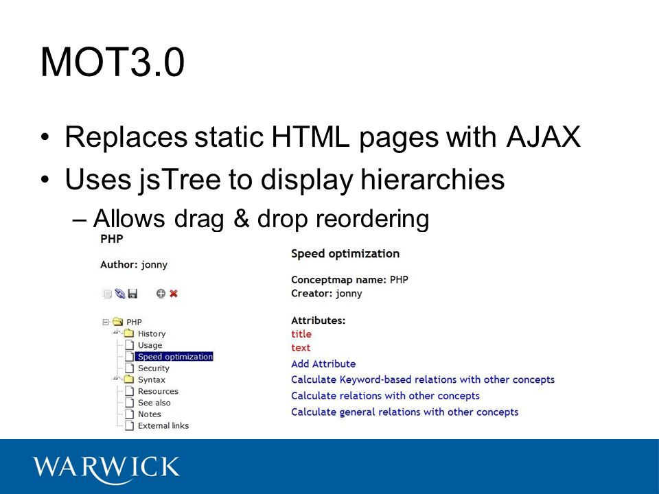 MOT3.0 Replaces static HTML pages with AJAX Uses jsTree to display hierarchies –Allows drag & drop reordering