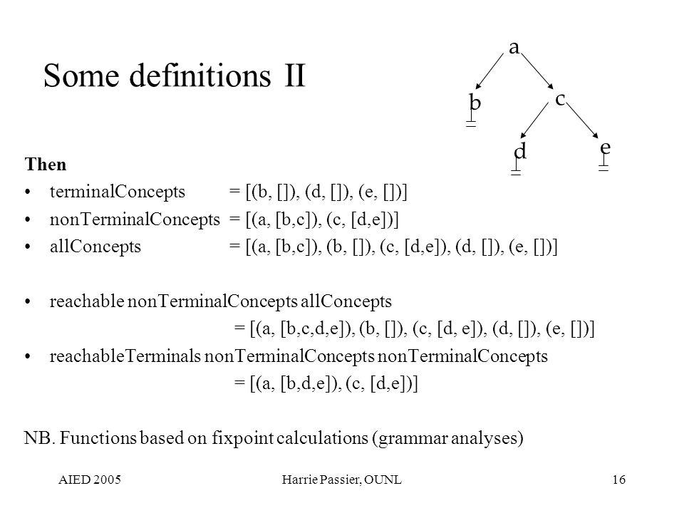 AIED 2005Harrie Passier, OUNL16 Some definitions II Then terminalConcepts = [(b, []), (d, []), (e, [])] nonTerminalConcepts= [(a, [b,c]), (c, [d,e])] allConcepts= [(a, [b,c]), (b, []), (c, [d,e]), (d, []), (e, [])] reachable nonTerminalConcepts allConcepts = [(a, [b,c,d,e]), (b, []), (c, [d, e]), (d, []), (e, [])] reachableTerminals nonTerminalConcepts nonTerminalConcepts = [(a, [b,d,e]), (c, [d,e])] NB.