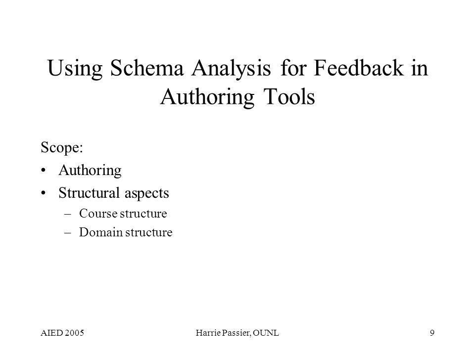 AIED 2005Harrie Passier, OUNL9 Using Schema Analysis for Feedback in Authoring Tools Scope: Authoring Structural aspects –Course structure –Domain structure