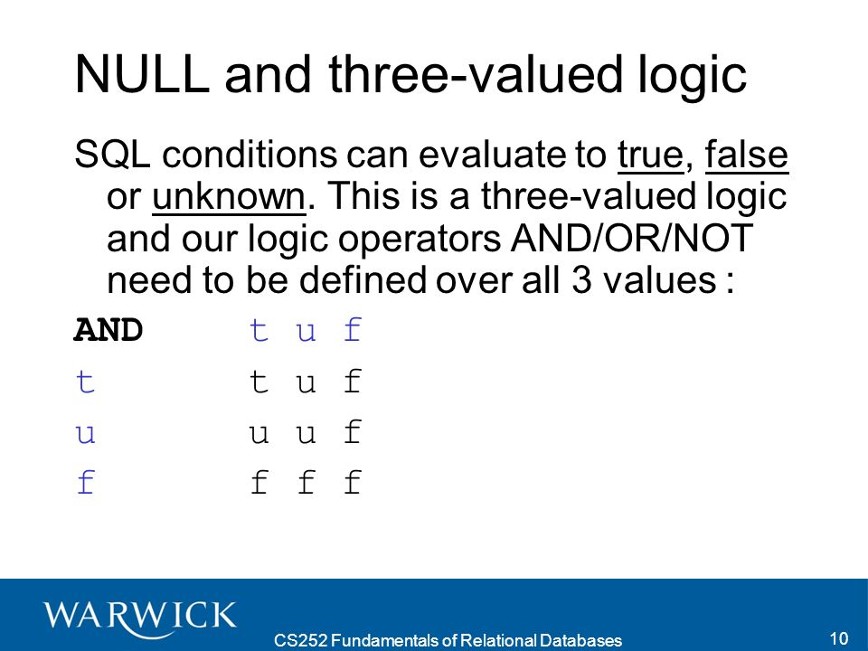 CS252 Fundamentals of Relational Databases 10 NULL and three-valued logic SQL conditions can evaluate to true, false or unknown. This is a three-value