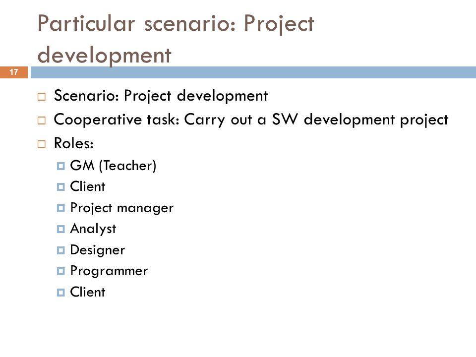 Particular scenario: Project development Scenario: Project development Cooperative task: Carry out a SW development project Roles: GM (Teacher) Client