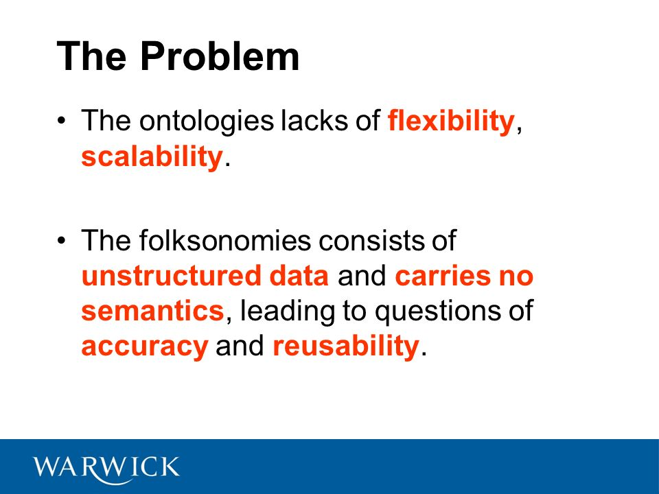 The Problem The ontologies lacks of flexibility, scalability. The folksonomies consists of unstructured data and carries no semantics, leading to ques