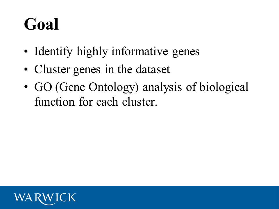 Goal Identify highly informative genes Cluster genes in the dataset GO (Gene Ontology) analysis of biological function for each cluster.