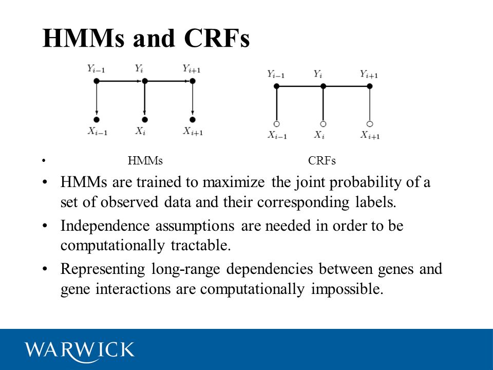 HMMs and CRFs HMMs CRFs HMMs are trained to maximize the joint probability of a set of observed data and their corresponding labels. Independence assu