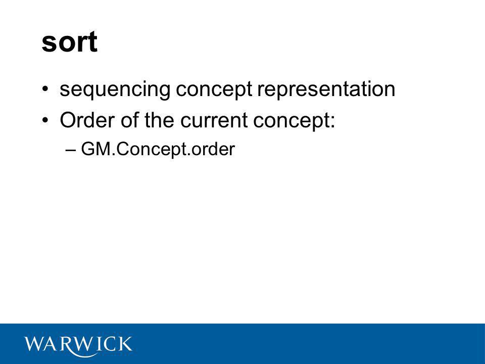 sort sequencing concept representation Order of the current concept: –GM.Concept.order