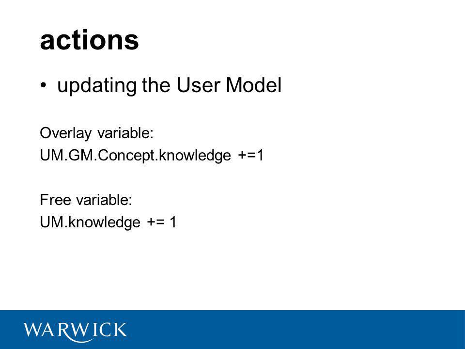 actions updating the User Model Overlay variable: UM.GM.Concept.knowledge +=1 Free variable: UM.knowledge += 1