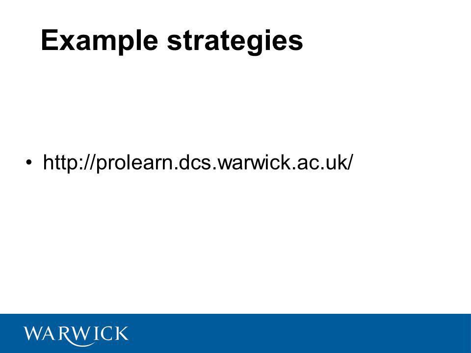 Example strategies http://prolearn.dcs.warwick.ac.uk/