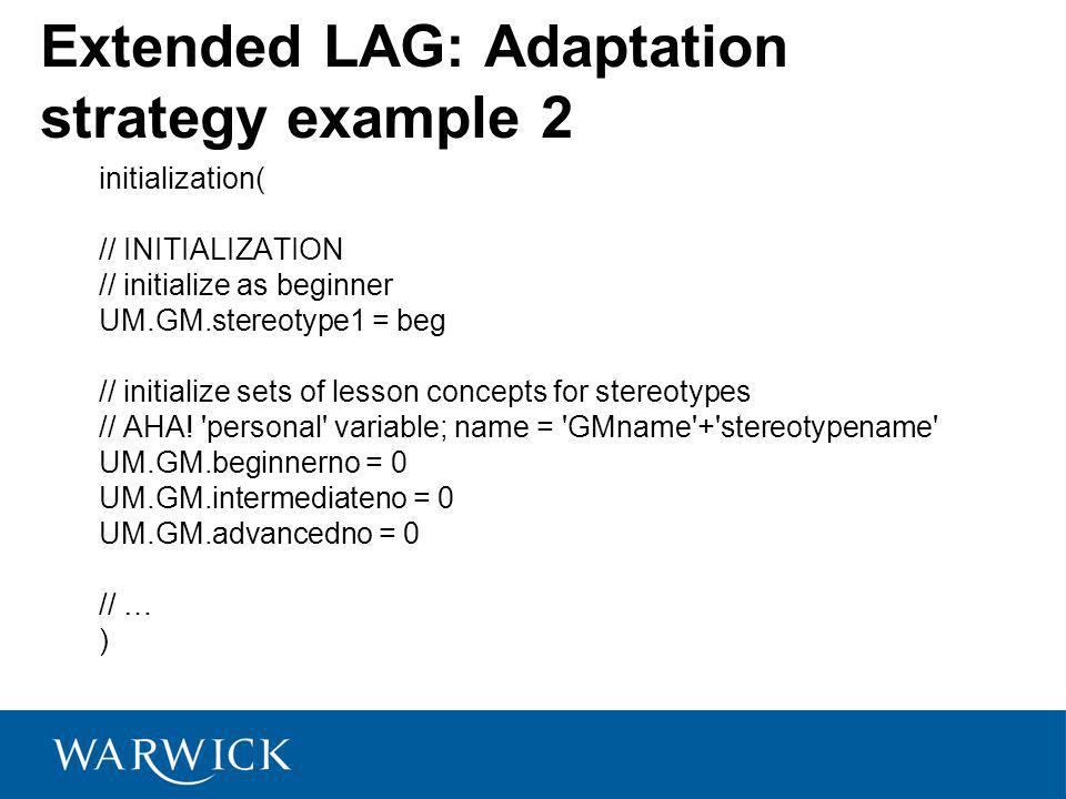 Extended LAG: Adaptation strategy example 2 initialization( // INITIALIZATION // initialize as beginner UM.GM.stereotype1 = beg // initialize sets of