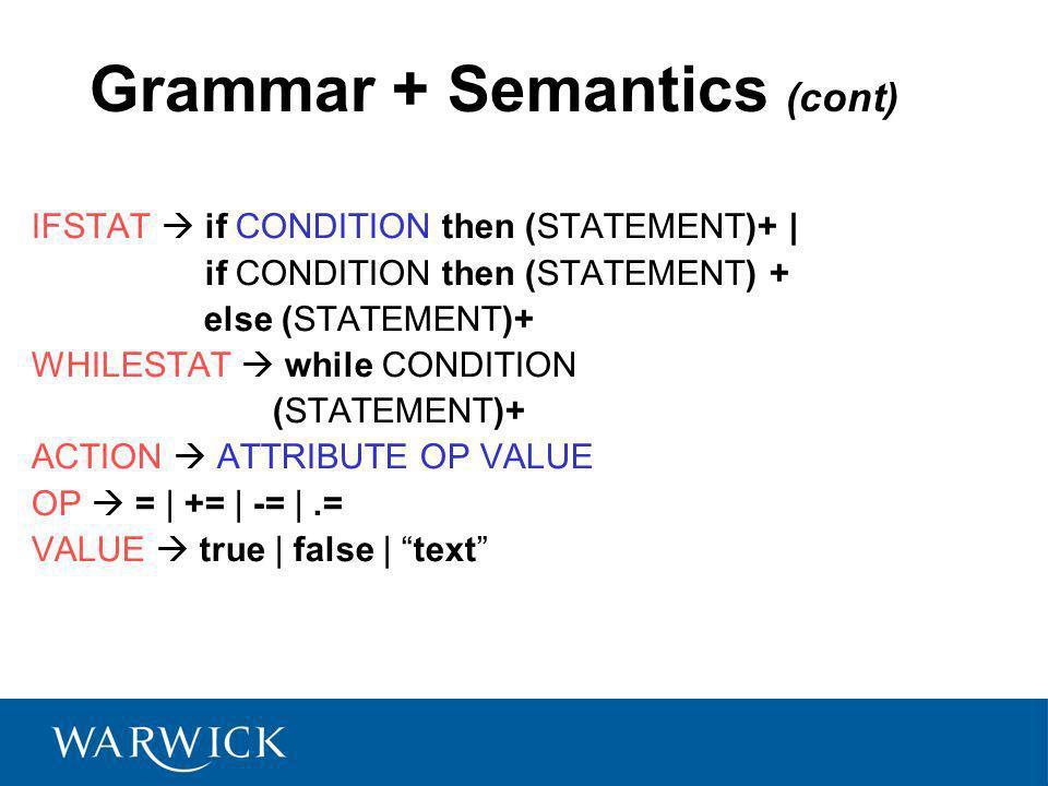 Grammar + Semantics (cont) IFSTAT if CONDITION then (STATEMENT)+ | if CONDITION then (STATEMENT) + else (STATEMENT)+ WHILESTAT while CONDITION (STATEMENT)+ ACTION ATTRIBUTE OP VALUE OP = | += | -= |.= VALUE true | false | text