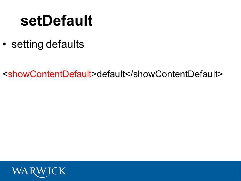 setDefault setting defaults default