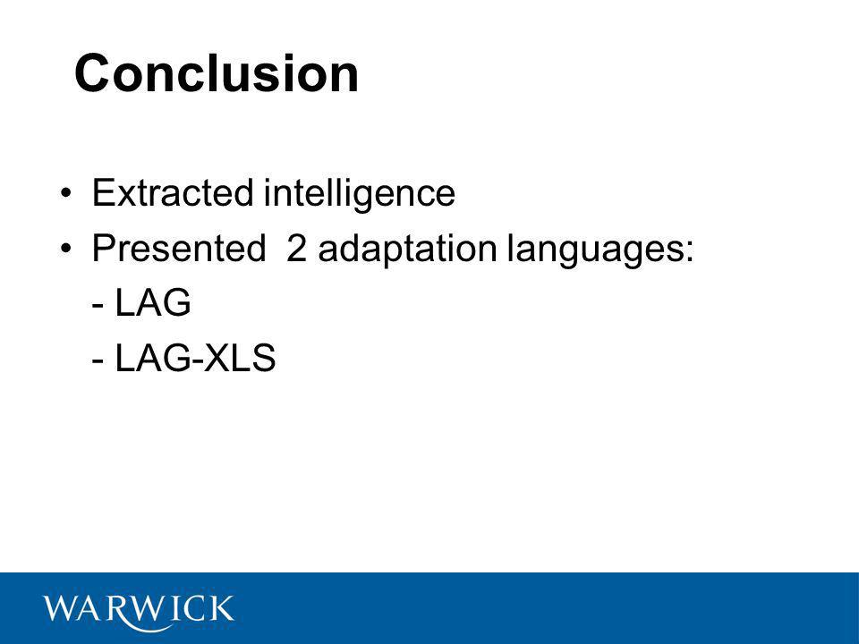 Extracted intelligence Presented 2 adaptation languages: - LAG - LAG-XLS