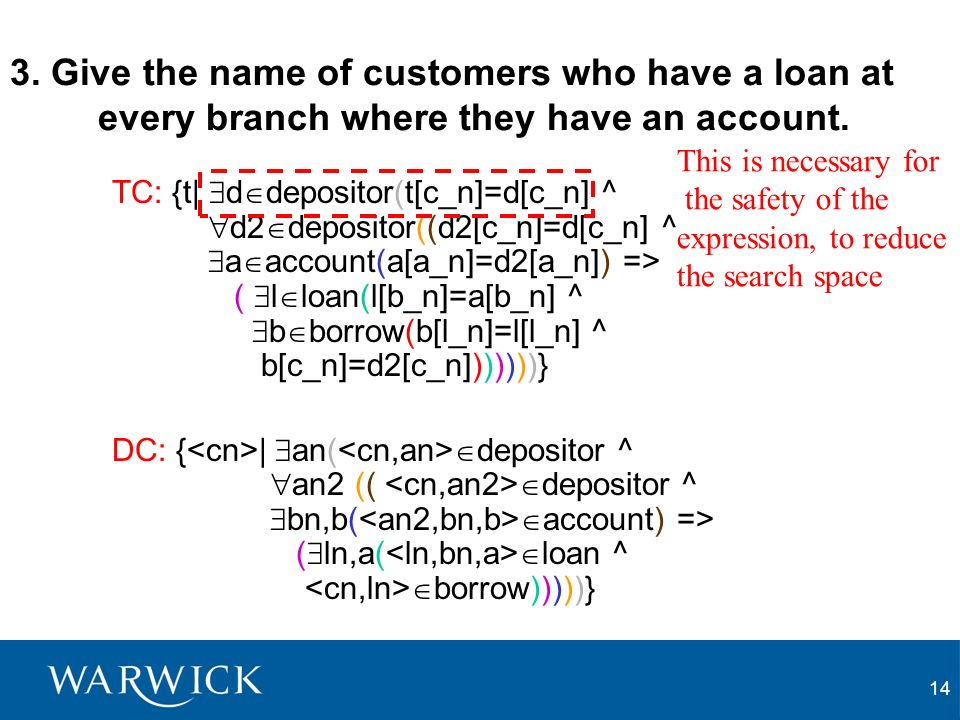 14 3. Give the name of customers who have a loan at every branch where they have an account. TC: {t| d depositor(t[c_n]=d[c_n] ^ d2 depositor((d2[c_n]