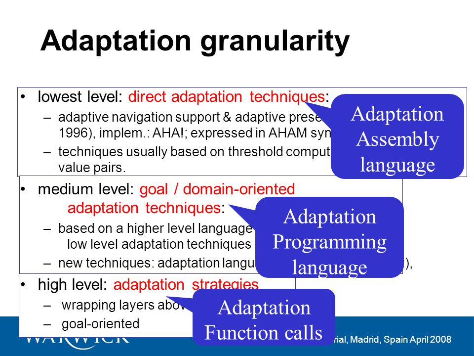Invited Tutorial, Madrid, Spain April 2008 Adaptation granularity lowest level: direct adaptation techniques: –adaptive navigation support & adaptive presentation (Brusilovsky 1996), implem.: AHA!; expressed in AHAM syntax –techniques usually based on threshold computations of variable- value pairs.