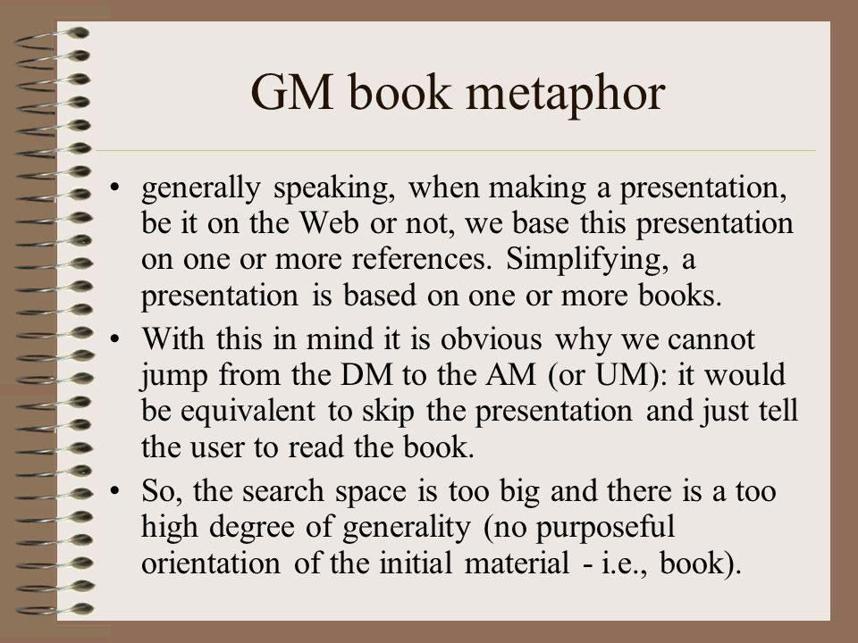 GM book metaphor generally speaking, when making a presentation, be it on the Web or not, we base this presentation on one or more references.